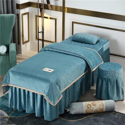 2020新款牛奶水晶绒梦之语夹棉系列美容床罩四件套 圆头四件套 (70*185) JB-浅蓝