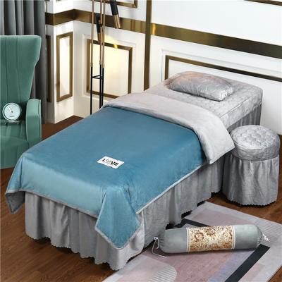 2020新款牛奶水晶绒梦之语夹棉系列美容床罩四件套 圆头四件套 (70*185) JB-浅蓝+灰