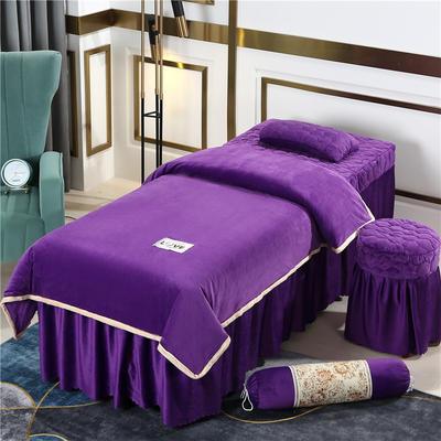 2020新款牛奶水晶绒梦之语夹棉系列美容床罩四件套 圆头四件套 (70*185) JB-深紫