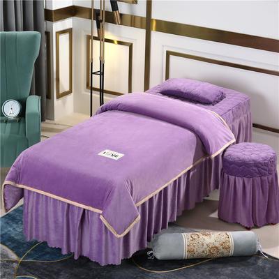 2020新款牛奶水晶绒梦之语夹棉系列美容床罩四件套 圆头四件套 (70*185) JB-香槟紫