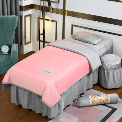 2020新款牛奶水晶绒梦之语夹棉系列美容床罩四件套 圆头四件套 (70*185) JB-玉+灰