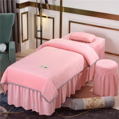 2020新款牛奶水晶绒梦之语夹棉系列美容床罩四件套 圆头四件套 (70*185) JB-玉色