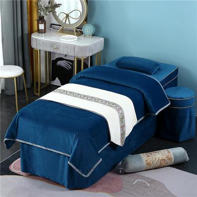 2020新款牛奶水晶绒DB伊人系列美容床罩四件套 圆头四件套 (70*185) DB-藏蓝