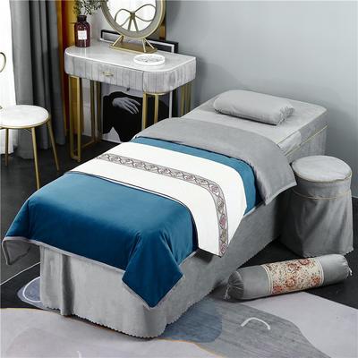 2020新款牛奶水晶绒DB伊人系列美容床罩四件套 圆头四件套 (70*185) DB-藏蓝+灰