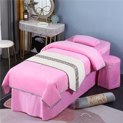 2020新款牛奶水晶绒DB伊人系列美容床罩四件套 圆头四件套 (70*185) DB-粉色