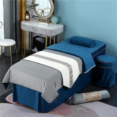 2020新款牛奶水晶绒DB伊人系列美容床罩四件套 圆头四件套 (70*185) DB-灰+藏蓝