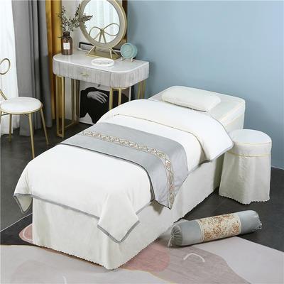 2020新款牛奶水晶绒DB伊人系列美容床罩四件套 圆头四件套 (70*185) DB-米白
