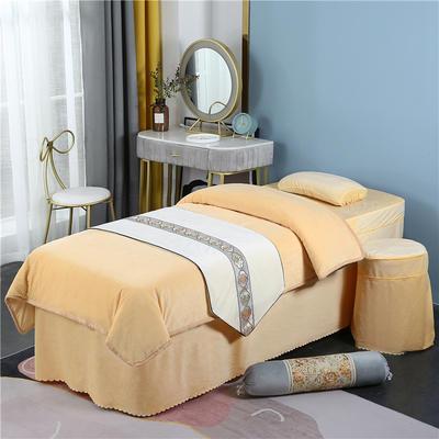 2020新款牛奶水晶绒DB伊人系列美容床罩四件套 圆头四件套 (70*185) DB-浅驼