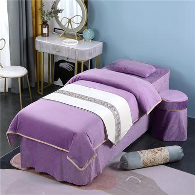 2020新款牛奶水晶绒DB伊人系列美容床罩四件套 圆头四件套 (70*185) DB-香槟紫