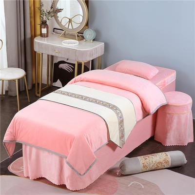 2020新款牛奶水晶绒DB伊人系列美容床罩四件套 圆头四件套 (70*185) DB-玉色