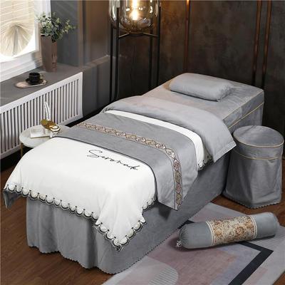 2020新款牛奶水晶绒DC典雅刺绣系列美容床罩四件套 圆头四件套 (70*185) DC-白+灰