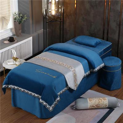 2020新款牛奶水晶绒DC典雅刺绣系列美容床罩四件套 圆头四件套 (70*185) DC-藏蓝