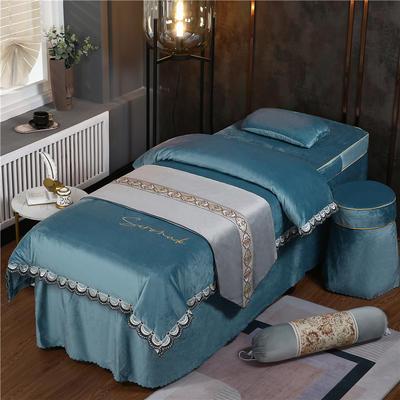 2020新款牛奶水晶绒DC典雅刺绣系列美容床罩四件套 圆头四件套 (70*185) DC-浅蓝