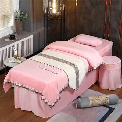 2020新款牛奶水晶绒DC典雅刺绣系列美容床罩四件套 圆头四件套 (70*185) DC-玉色