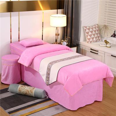 2020新款牛奶水晶绒DS简爱系列美容床罩四件套 圆头四件套 (70*185) DS-粉色