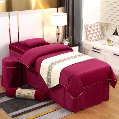 2020新款牛奶水晶绒DS简爱系列美容床罩四件套 圆头四件套 (70*185) DS-酒红
