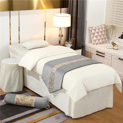 2020新款牛奶水晶绒DS简爱系列美容床罩四件套 圆头四件套 (70*185) DS-米白