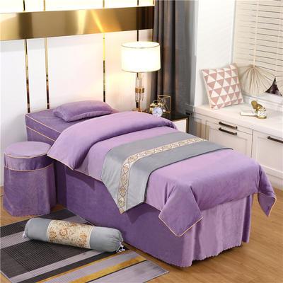 2020新款牛奶水晶绒DS简爱系列美容床罩四件套 圆头四件套 (70*185) DS-香槟紫