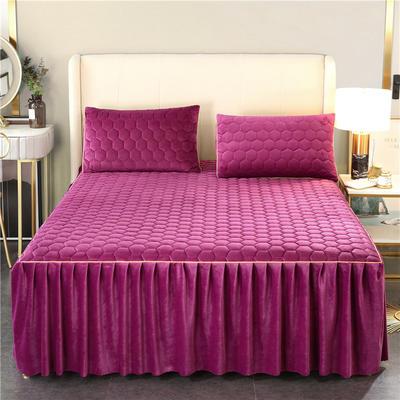 2020新款牛奶绒夹棉镶边床裙 120cmx200cm+45cm 唯美-酱紫色