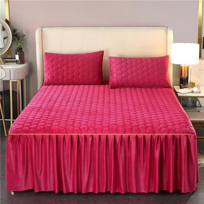 2020新款牛奶绒夹棉镶边床裙 120cmx200cm+45cm 唯美-酒红色