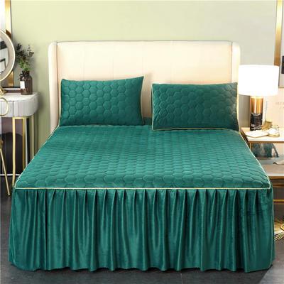 2020新款牛奶绒夹棉镶边床裙 120cmx200cm+45cm 唯美-孔雀绿