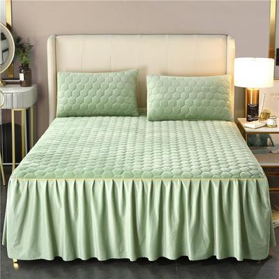 2020新款牛奶绒夹棉镶边床裙 120cmx200cm+45cm 唯美-浅石绿