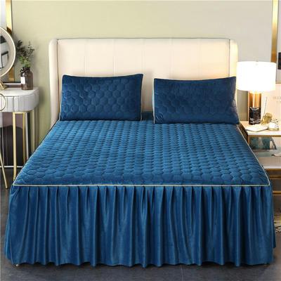 2020新款牛奶绒夹棉镶边床裙 120cmx200cm+45cm 唯美-绅士蓝