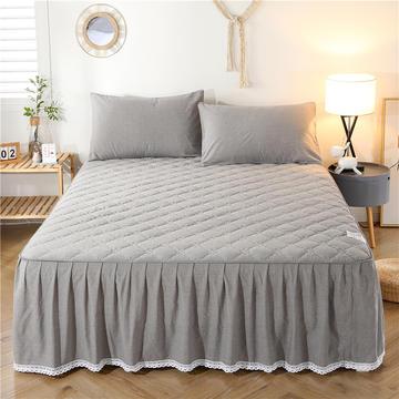2021新款全棉色织水洗棉夹棉床裙