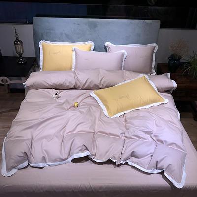 2020新款13372精梳全棉四件套-春色浪漫系列 1.8m(6英尺)床 豆沙