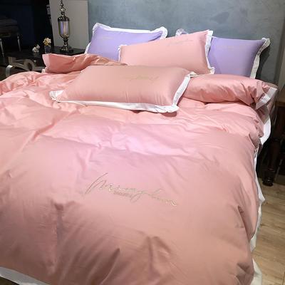 2020新款13372精梳全棉四件套-春色浪漫系列 1.8m(6英尺)床 粉色