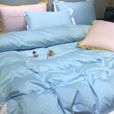 2020新款13372精梳全棉四件套-春色浪漫系列 1.8m(6英尺)床 海蓝