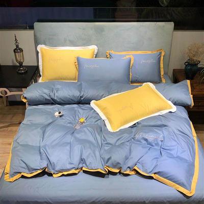 2020新款13372精梳全棉四件套-春色浪漫系列 1.8m(6英尺)床 灰色