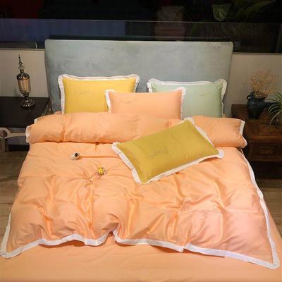2020新款13372精梳全棉四件套-春色浪漫系列 1.8m(6英尺)床 橘黄