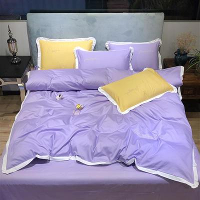 2020新款13372精梳全棉四件套-春色浪漫系列 1.8m(6英尺)床 紫色