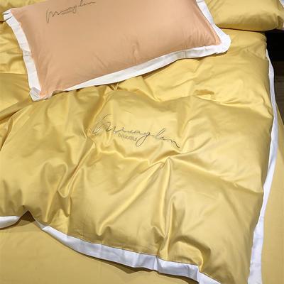 2020新款13372精梳全棉四件套-春色浪漫系列 1.8m(6英尺)床 金黄