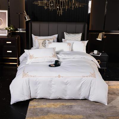 2020新款全棉色布绣花四件套 1.8m床单款四件套 美杜莎-本白