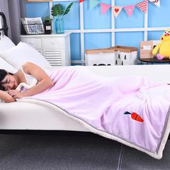 贴布绣双层加厚多功能毛毯 金貂绒毛毯 童毯 75*100cm 红萝卜—粉色