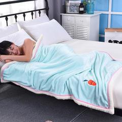 贴布绣双层加厚多功能毛毯 金貂绒毛毯 童毯 75*100cm 红萝卜—绿色