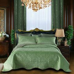 2018新款欧式多功能百分百水洗棉水晶绒床盖床毯3件套 枕头/对 橄榄绿