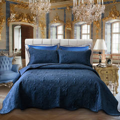 2018新款欧式多功能百分百水洗棉水晶绒床盖床毯3件套 枕头/对 海洋蓝