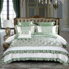 2018新品OL家纺欧式60S样板房六件套 1.8m(6英尺)床 巴黎世家-琉璃绿