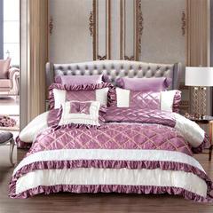 2018新品OL家纺欧式60S样板房六件套 1.8m(6英尺)床 巴黎世家-魔芋紫
