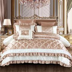 2018新品OL家纺欧式60S样板房六件套 1.8m(6英尺)床 巴黎世家-香槟金