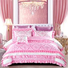 2018新品OL家纺欧式60S样板房六件套 1.8m(6英尺)床 法式浪漫-娇粉