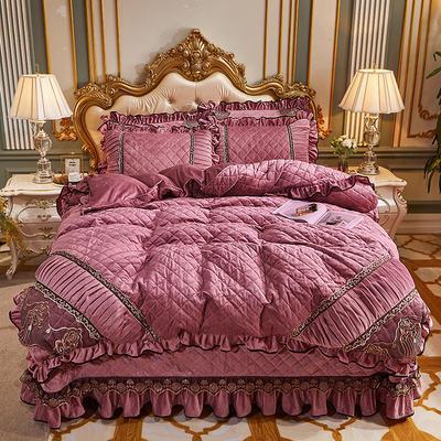 2020新款艾丽莎水晶绒系列床盖四件套 床盖四件套 豆沙色