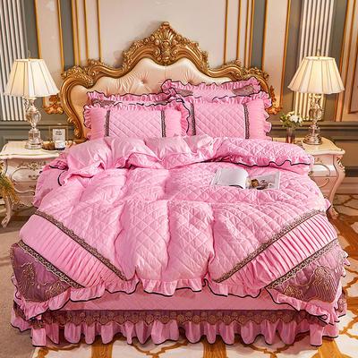 2020新款艾丽莎水晶绒系列床盖四件套 床盖四件套 粉色