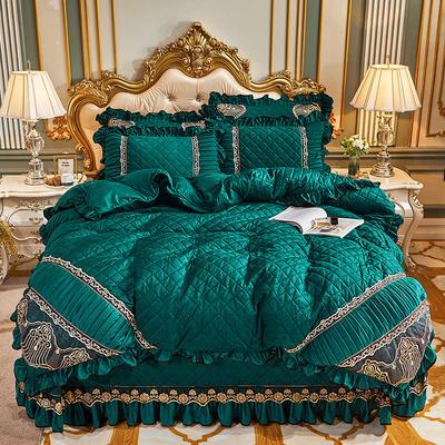 2020新款艾丽莎水晶绒系列床盖四件套 床盖四件套 孔雀绿
