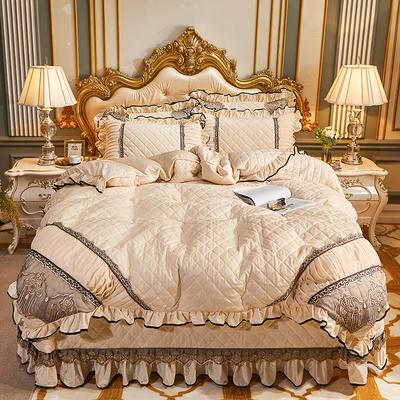 2020新款艾丽莎水晶绒系列床盖四件套 床盖四件套 米色