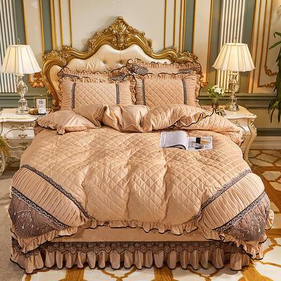 2020新款艾丽莎水晶绒系列床盖四件套 床盖四件套 驼色