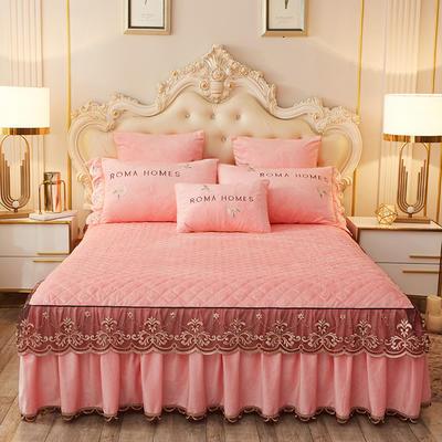 2020新款花的故事系列床裙 150cmx200cm单床裙 花的故事-粉玉
